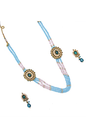Blue Beads Enhanced Necklace Set