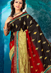 Multicolored Art Dupion Silk Saree