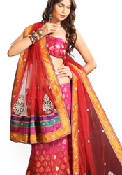Shaded Pure Jamevar Lehenga Choli